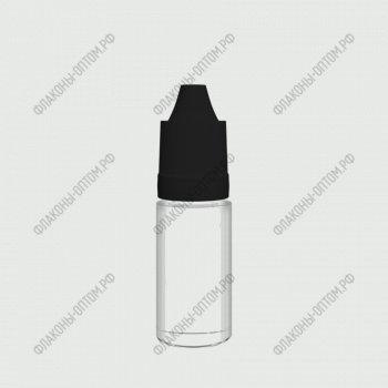 Флаконы ПЭТ 10 мл с тонким дозатором и крышкой с защитой от детей  Черная крышка